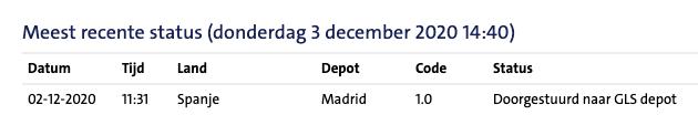 Een verzendbevestiging uit Spanje